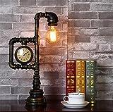 Atmko®Schreibtischlampe Tischleuchte Vintage Industrie Tischlampe Rustikal Schmiedeeisen Wasserrohr Stil Schlafzimmer Wohnzimmer Cafe Bar Nachttischlampe