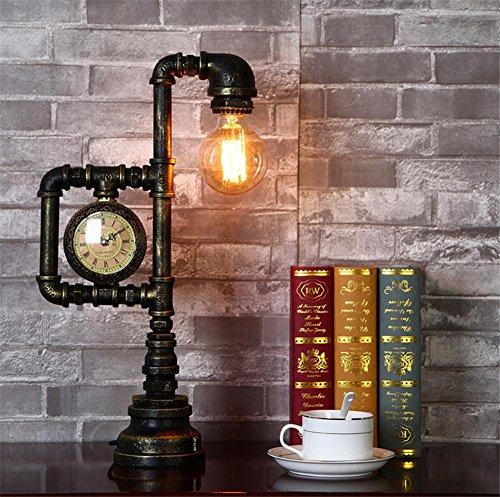 H&M Lampes de bureau Vintage industriel lampe de table rustique fer forgé tuyau d'eau Style Chambre Salon Cafe Bar lampe de chevet Desk