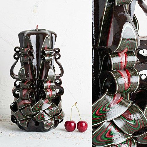 Groß, Braun mit grünen, roten, weißen und braunen Streifen - dekorativ geschnitzte Kerze - EveCandles - Braune Gut
