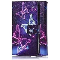 tinxi® Kunstleder Tasche für HTC 99HAED042-00 Desire 626G (Dual-micro SIM) Tasche Schutz Hülle Schale Etui Case Cover Standfunktion mit Karten Slot bunte Schmetterling