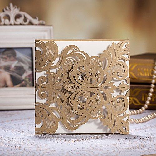 ponatia 25Pack Set Laser-Cut Einladung Karten, Spitze Einladung Kit für Hochzeit Jahrestag Brautschmuck Dusche Geburtstag mit bedruckbar Papier und Umschläge gold (Cut-karte Die)