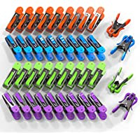 VOUNOT Pinzas para Tender Ropa 40 Piezas, Pinzas Ropa Acero Inoxidable Multipropósito, con Agarre Suave y Gancho, 4 Colores
