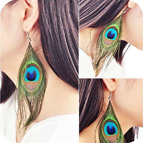 ORECCHINI Eardrop7 Wrone (TM) di stile della piuma del pavone Silvery gancio delle donne
