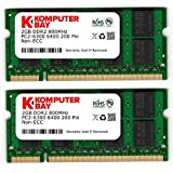 Komputerbay 4Go 2x 2Go DDR2 800 MHz PC2-6300 PC2-6400 DDR2 800 (200 PIN) SODIMM mémoire d'ordinateur portable