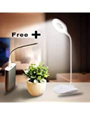 Azacus LED Desk Lamp with USB Port & Power Adapter also with Brightness Adjustable Goose-Neck Portable Eye-Protected Table Lights (1.5W) (Color May Vary)