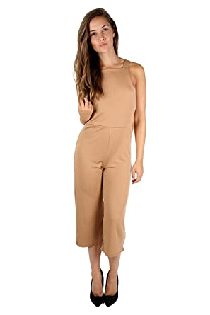 4f37b41ed9e Womens Ladies 3 4 Length Dungaree All In One Piece Wide Leg Palazzo Rompers  Playsuit Jumpsuit  Amazon.co.uk  Clothing