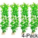 COMSUN Aquarium Pflanzen, 4 pack künstliche Aquarienpflanzen, Wasserpflanzen, Aquarium Dekoration, Aquarium Gras, große Blätter, 10-10,6Zoll Kunststoff+Keramik Basis Grün