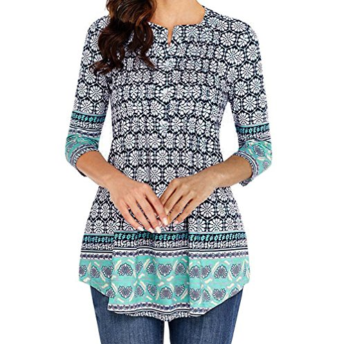 MRULIC Damen Rundhals Geripptes Sleeve Casual Falten Kurzarm T-Shirt mit Stretch Top(Z5-Blau,EU-44/CN-XL) -