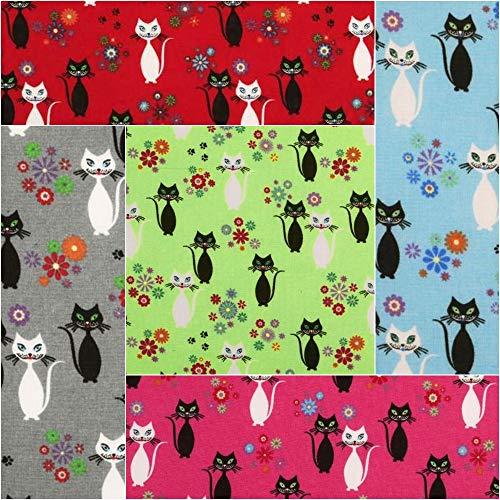 Quilten Bekleidung (DIE NÄHZWERGE Baumwollstoff Motivkollektion Tiere [Katze schwarz/weiß]- Meterware ab 50cm in 5 Farben | 100% Baumwolle, Cotton - zum Nähen, Quilten & Patchworken (pink))