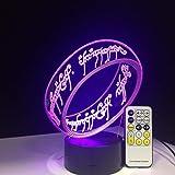 ARXYD Lampade 3D Illusione Ottica Luce Notturna Il Signore Degli Anelli Deco Lampada Led Da Tavolo Illuminazione Luce Di Nott
