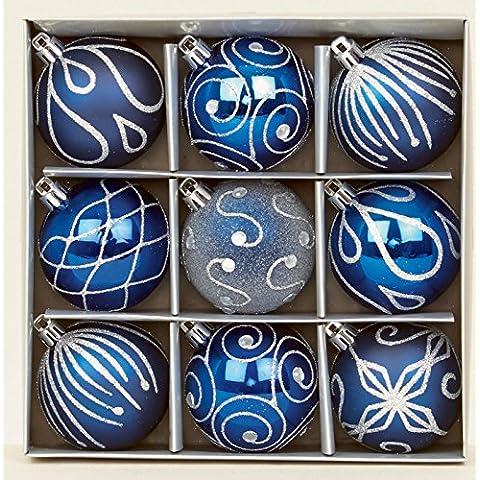 Juego de 9 azul oscuro bolas para árbol de Navidad 6 cm