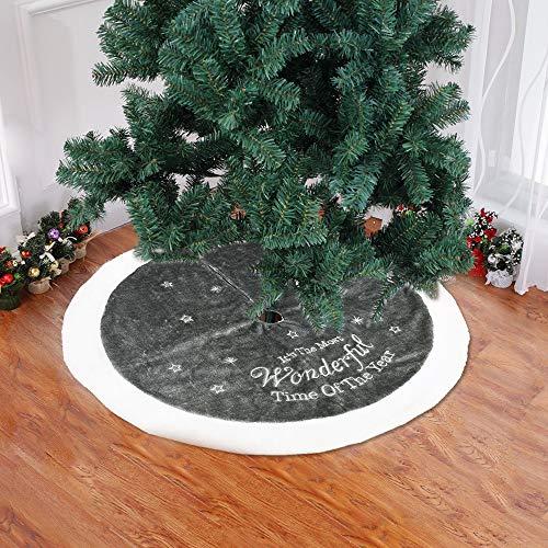 Flowerssea 37.4in gonne di albero di natale bianco fiocco di neve stella in vellutino xmas new year holiday pattern kit grande per interni ed esterni grey