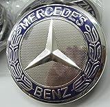 Felgendeckel Mercedes Benz 4 x 75mm Nabendeckel Radnabenkappen Radkappen Felgenkappen Nabenkappen Wheel Caps Silber/Chrom/Blau