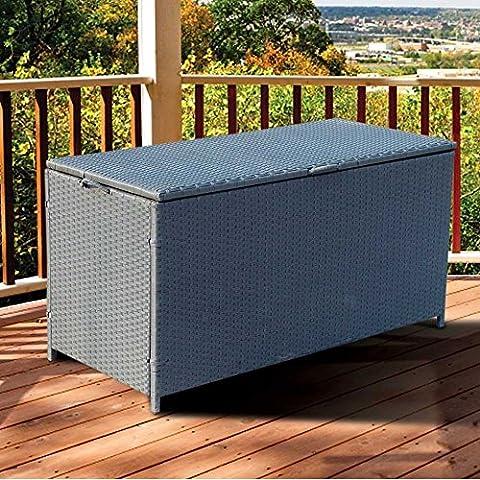 Boîte de coffre de tissage Rotin Entièrement en acier résistant aux intempéries étanche Jardin Patio meubles Canapé d'angle