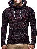LEIF NELSON Herren Pullover Hoodie Kapuzenpullover Strickpullover Longsleeve Sweater Sweatshirt Pulli LN20227 (Large, Rot)