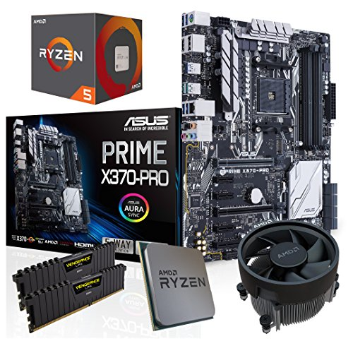 SNOGARD Aufrüst Kit | AMD RYZEN 5 1500X Prozessor | ASUS PRIME X370-PRO | 8GB DDR4 RAM / Desktop Computer Mainboard Bundle / Aufrüstset / PC Tuning Set