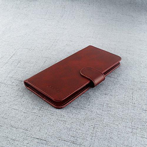 95Street Handyhülle für Doogee X53 Schutzhülle Book Case für Doogee X53, Hülle Klapphülle Tasche im Retro Design mit Praktischer Aufstellfunktion - Etui Braun