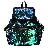 HCFKJ Tasche, Doppelte Farbe Pailletten Mädchen Schultasche Weiche Rucksack Mode Tasche (free, GN)