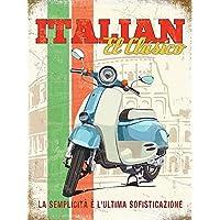 Italiano El Clasico. Blu e bianco scooter. Ciclomotore classico, scooter.