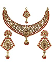 Penny Jewels Alloy Party Wear & Wedding Traditional Ethnic Gold Plated Stylish Necklace Set For Women & Girls