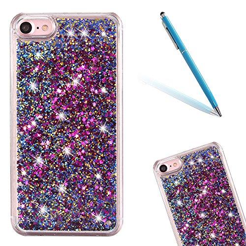 """iPhone 7 Hülle, [Kristallklar Durchsichtig] Handytasche CLTPY iPhone 7 Glanz Sparkle Diamant Sternherz Muster Dynamisch Liquid Hardcase für 4.7"""" Apple iPhone 7 + 1 x Griffel - Blau Lila-blau"""