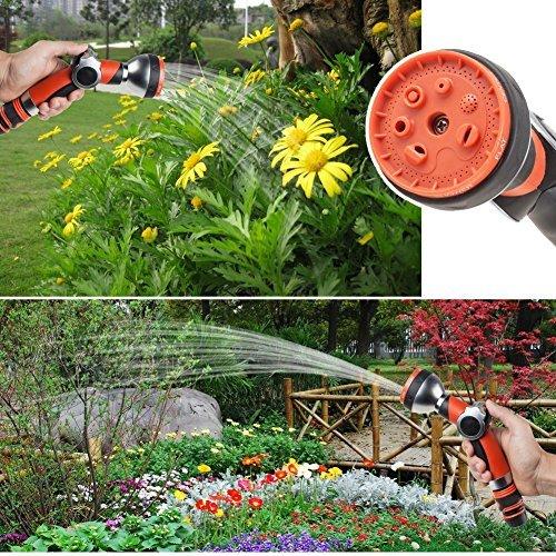 Irrigazione giardino, 7 tipi di getto, in plastica con ugello Spruzzatore ad alta pressione con impugnatura a pistola con controllo del flusso