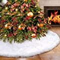 Luxury Snow effect White Fur Christmas Tree Skirt