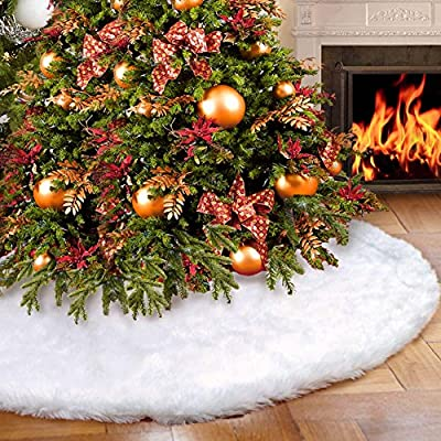 Luxury Snow effect White Fur Christmas Tree Skirt