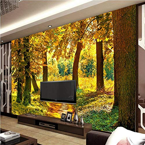 Benutzerdefinierte 3D Wallpaper Herbst Landschaft Wald Landschaft 3D Wandgemälde Landschaft Dekoration, 250 × 175Cm