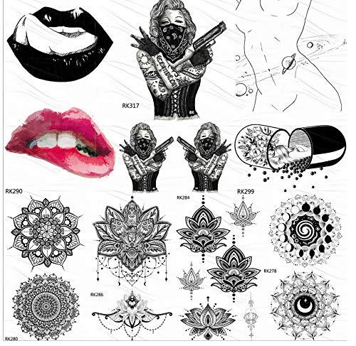 yyyDL Temporäre Tattoo-Aufkleber Punk Girl Tattoos Temporäre Aufkleber Pille Fake Tattoo Lippen Benutzerdefinierte Tatoos Für Frauen Männer Body Art Schwarz Wasserdicht 10 * 6 cm 7 - Pille Brust Kostüm
