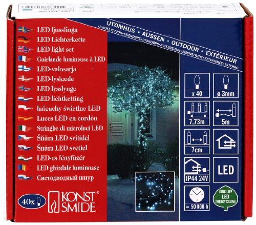 3627-440 Micro LED Lichterkette / für Außen (IP44) / 24V Außentrafo / 40 hellblaue Dioden / schwarzes Kabel