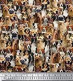 Soimoi 58 Zoll breit Baumwollpopeline Stoff Hundedruck Nähen Material durch die Meter-Mehrfarben