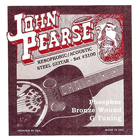 John Pearse 3100 Jeu de cordes pour Guitare Résophonique Phosphore Bronze