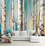 Mznm Custom 3D Wandbild Tapete N weiß Birken Ölgemälde TV Sofa Hintergrund Tapete Wohnzimmer Schlafzimmer Wand abdecken 200x140cm