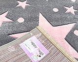 Kinderteppich Happy Rugs STARS silbergrau/rosa 80 x 150 cm -