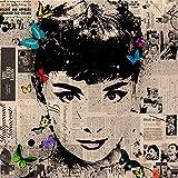 Audrey Hepburn Pop Art 30x 30cm Bild Druck auf MDF-Rand schwarz