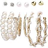 Jewels Galaxy Brass Pearl Earrings For Women
