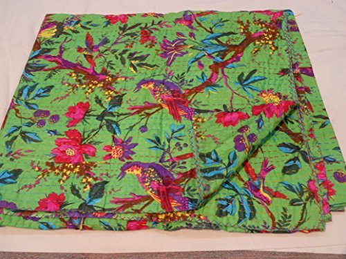 Tribal Asian Textiles Hand Made Bird Print King Size Kantha Quilt , Kantha Blanket, Bed Cover, King Kantha bedspread, Bedding Kantha Size 90 Inch x 108 Inch
