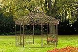 CLP Luxus Pavillon Romantik V2 aus pulverbeschichtetem Eisen l Runder Pavillion mit Stilvollen Verzierungen l Höhe 350 cm l Garten Rankpavillon mit Seitenteilen Antik Braun