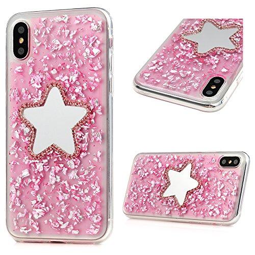 MAXFE.CO Schutzhülle Tasche Case für iPhone X TPU Silikon Cover Glitzern Design Etui Protective Schale Bumper Traumfänger Fünfeckiger Stern