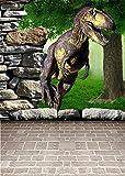 YongFoto 1x1,5m Vinyl Foto Hintergrund 3D Cartoon Dinosaurier Wand Szene Fotografie Hintergrund für Fotoshooting Portraitfotos Party Kinder Fotostudio Requisiten