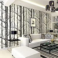 Huzi Birch Pattern Non-Woven Wood Wallpaper roll Modern Designer Wall Cloth Living Room Simple Black and White Wallpaper 1 M2Customizable