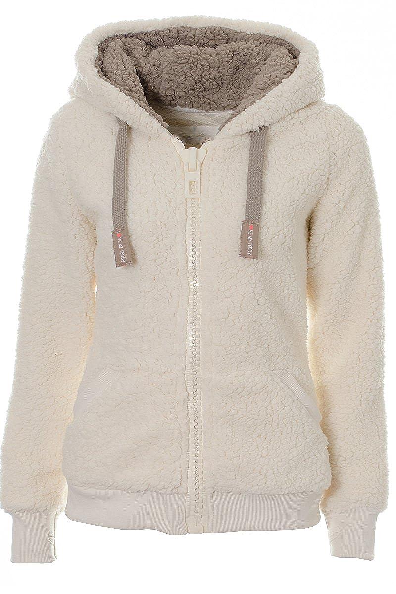 Ladies Womens Soft Teddy Sherpa Fleece Hooded Jumper Hoody Jacket ...