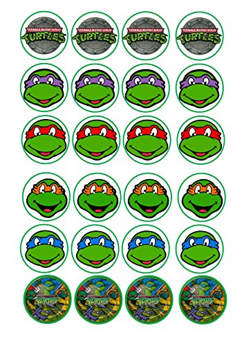 Image of 24 TMNT Teenage Mutant ninja Turtles mixed images Cake Toppers 4cm On wafer rice paper