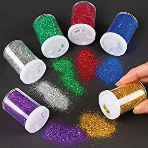 Baker Ross Glitter Shaker Tubes for Crafting, Scrapbooking, Card and Decoration Making - Arts & Crafts Supplies (Set of 6 Assorted Colours)