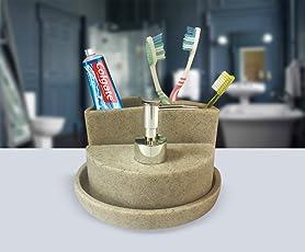 Sterling SMS-186 Natural Stone Finish Polyresign 4 Pieces Bathroom Set-Liquid Soap Dispenser, Toothbrush Holder, Tumbler & Soap Dish holder