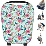 Infant Car Seat Covers 5 In 1 For Girls And Boys - Stretchy Baby Carriage Cover Breastfeeding Nursing Cover Scarf Baby Car Seat Cover