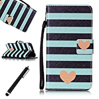Huawei Honor 8 Case,Beddouuk Huawei Honor 8 Leather Case,Ultra Slim PU Leather Wallet Case Cover Kickstand Feature Cash&Card Slots Magnetic Clasp,Colorful Pattern Design Bookstyle Full Body Protection Cover Skin Holster Case for Huawei Honor 8-Blue Stripe