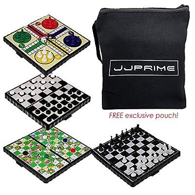 JJPRIME - 4 populaire classique Fun Voyage Jeux de société - Snake et Echelle Checkers Chess Ludo Compact Mini magnétique dés jeu pliant Box Set cadeau présent Noël Noël fête d'anniversaire