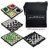 JJPRIME - 4 giochi da tavolo classici da viaggio divertenti - scacchi a scacchi e serpenti Ludo mini gioco magnetico di dadi set compatto di scatole pieghevoli regalo di Natale festa di compleanno